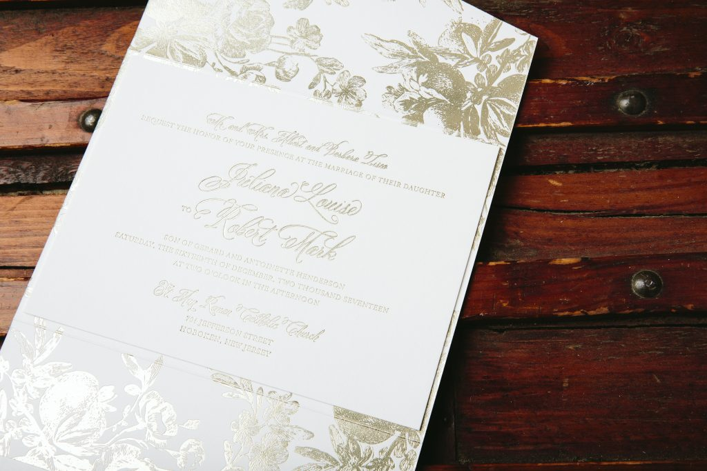 Traditional floral wedding invitations in tawny foil | Bella Figura