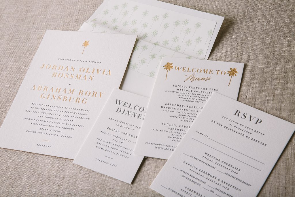 letterpress and bronze foil palm tree wedding invitations | Bella Figura