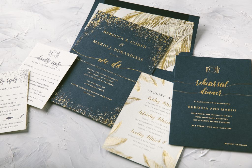 Modern foil and palm tree wedding invitations - Bella Figura