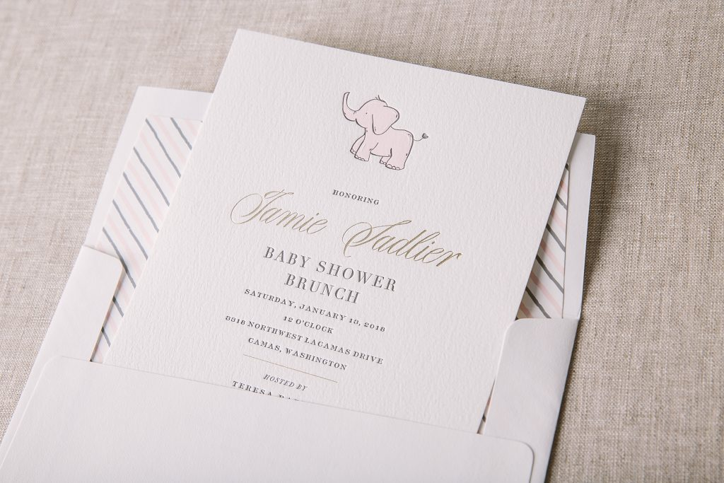 letterpress and foil baby shower invitations Bella Figura