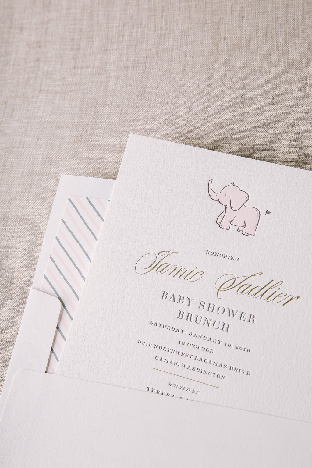 letterpress and foil baby shower invitations | Bella Figura