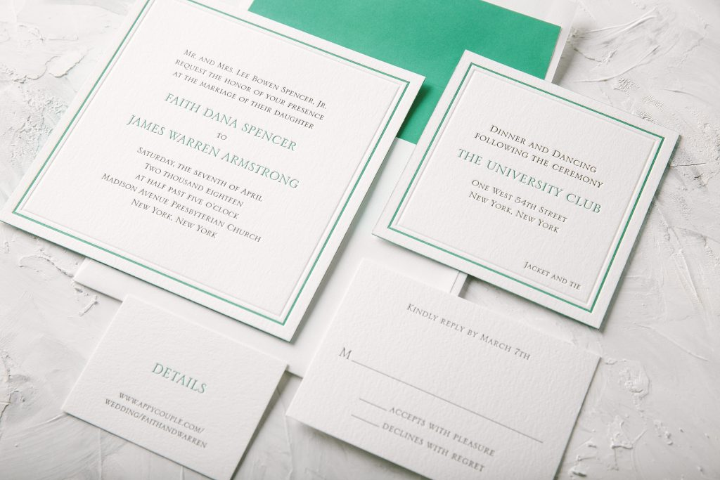 classic letterpress and foil wedding invitations | Bella Figura