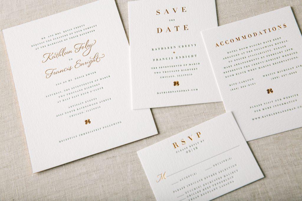 invitations for Saint Patrick's Day wedding | Bella Figura