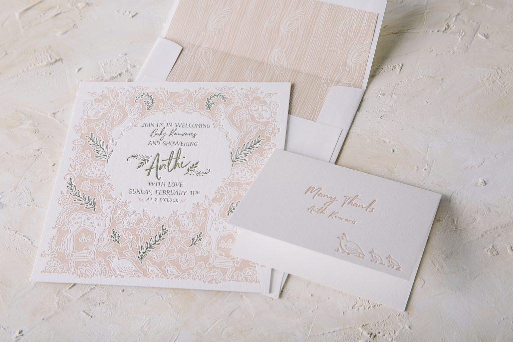 letterpress woodland baby shower invitations | Bella Figura