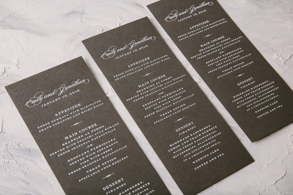 gray and white foil stamped wedding menus | Bella Figura