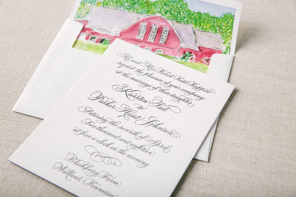letterpress calligraphy wedding invitations for Blackberry Farm