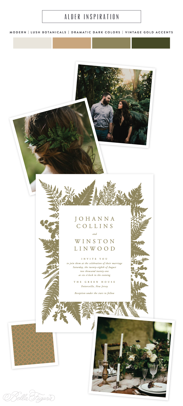 Alder reimagined: moody botanical wedding invitation inspiration | Bella Figura