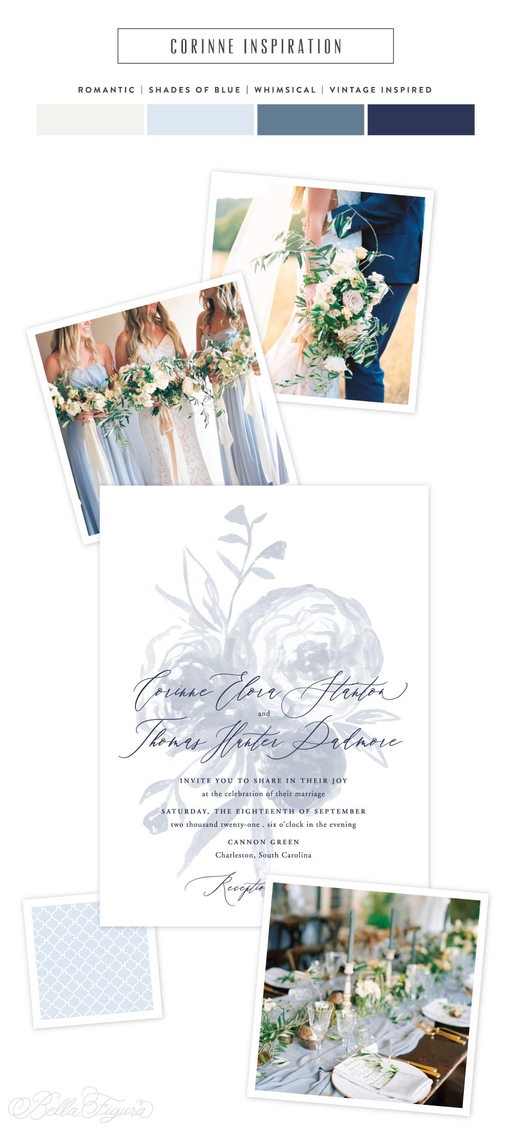 Corinne reimagined: soft + feminine floral wedding invitations | Bella Figura