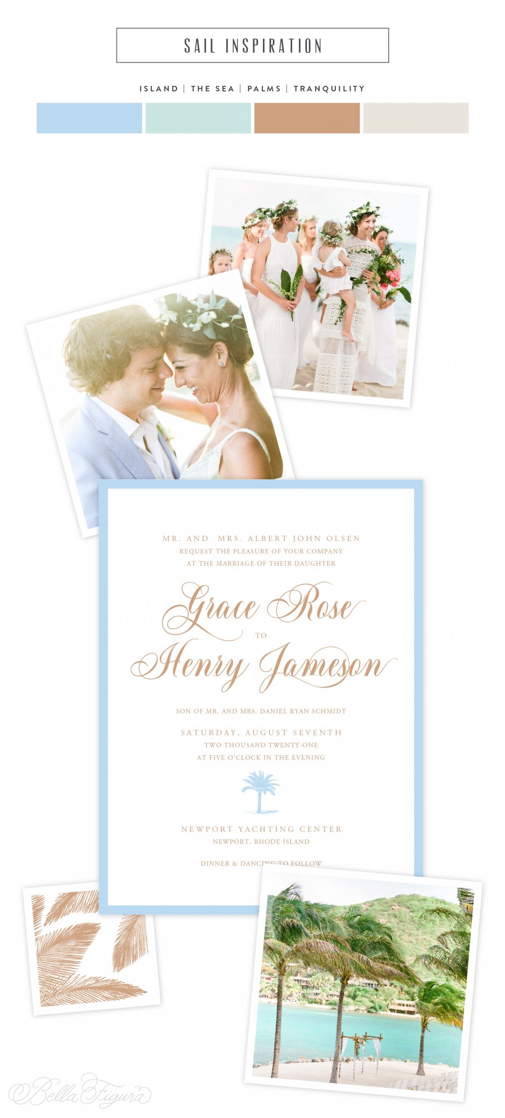 Sail reimagined: wedding invitations with a relaxed island vibe | Bella Figura