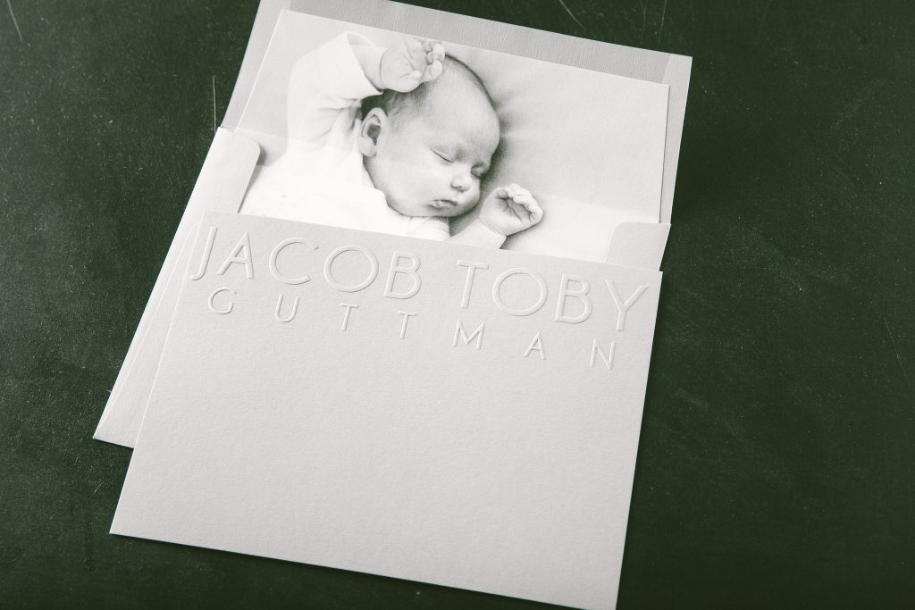 blind embossed thank you cards for baby by Bella Figura