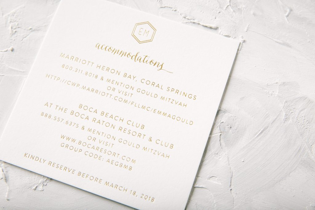 Foil stamped hexagon Bat Mitzvah save the dates | Bella Figura