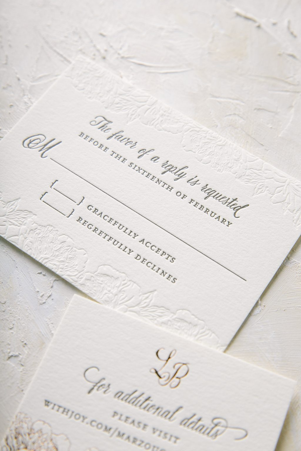 bronze and taupe floral letterpress wedding invitations | Bella Figura