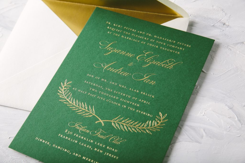 green and gold foil formal wedding invitations | Bella Figura