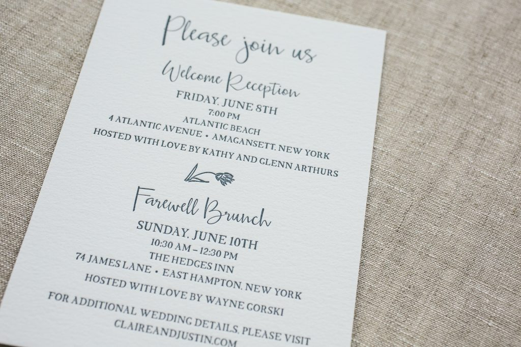 deep blue letterpress wedding invitations with hand-illustrated cartouche | Bella Figura