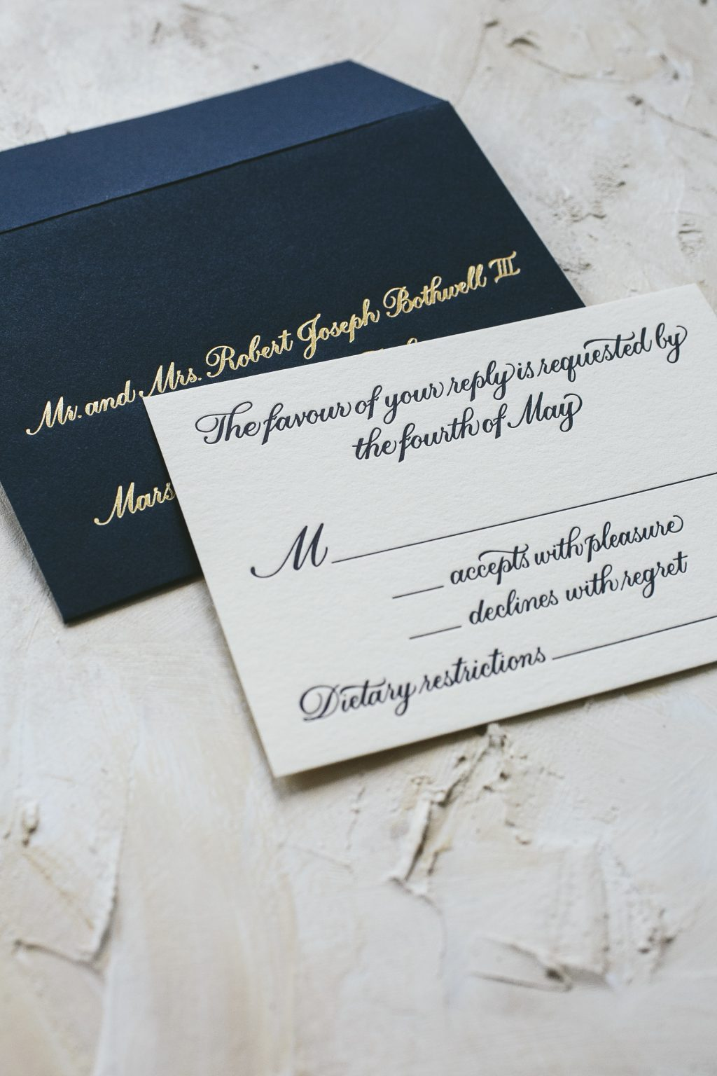letterpress printed hand calligraphy wedding invitations by Bella Figura