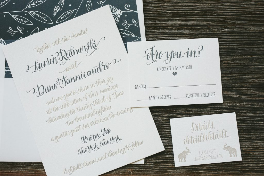 Bronx Zoo wedding invitations featuring hand calligraphy by Bella Figura