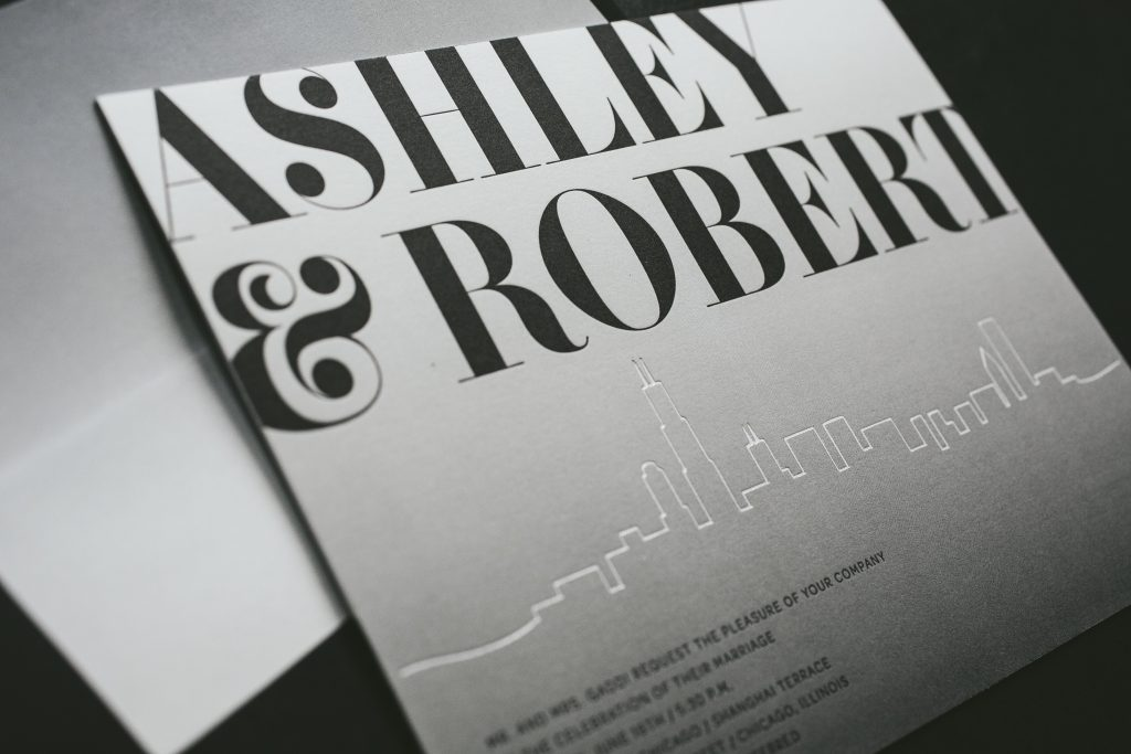 letterpress printed chicago skyline wedding invitations by Bella Figura