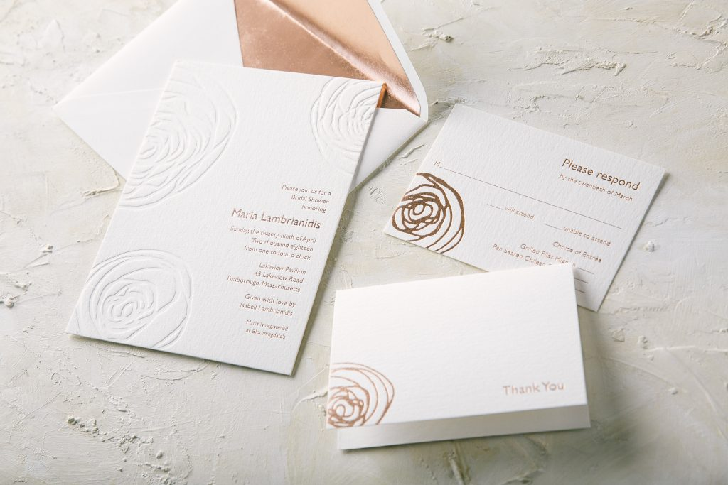 letterpress printed abstract floral bridal shower invitations by Bella Figura
