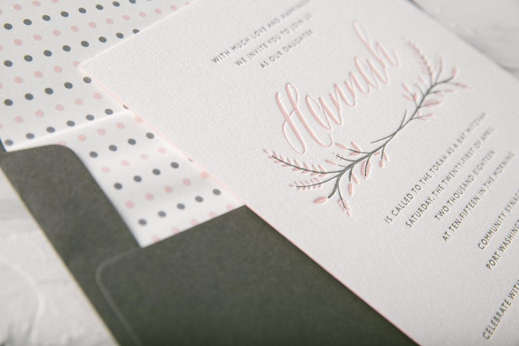 Pastel letterpress Bat Mitzvah invitations by Bella Figura
