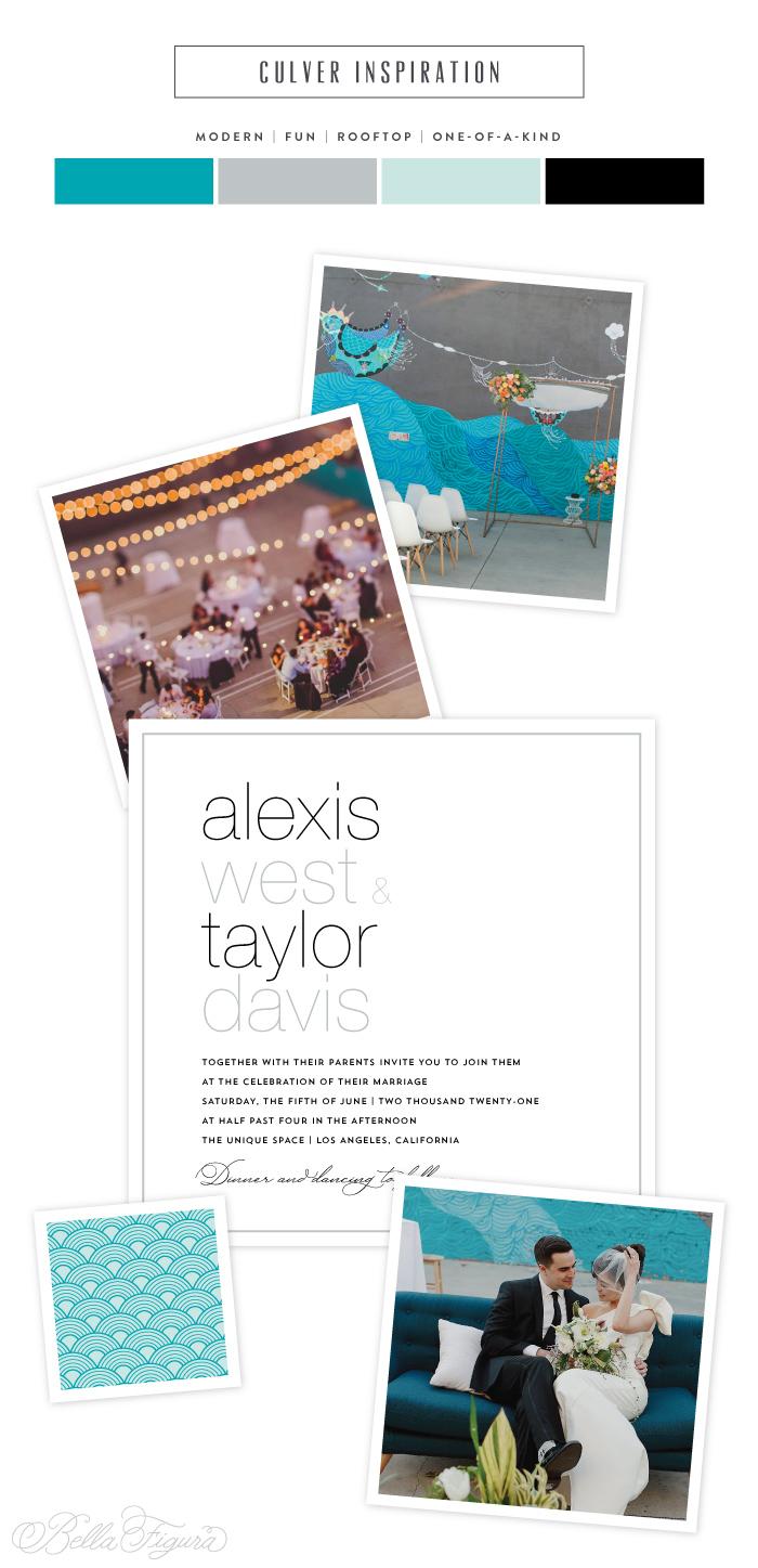 Culver reimagined: wedding invitation inspiration from Los Angeles' arts district   Bella Figura