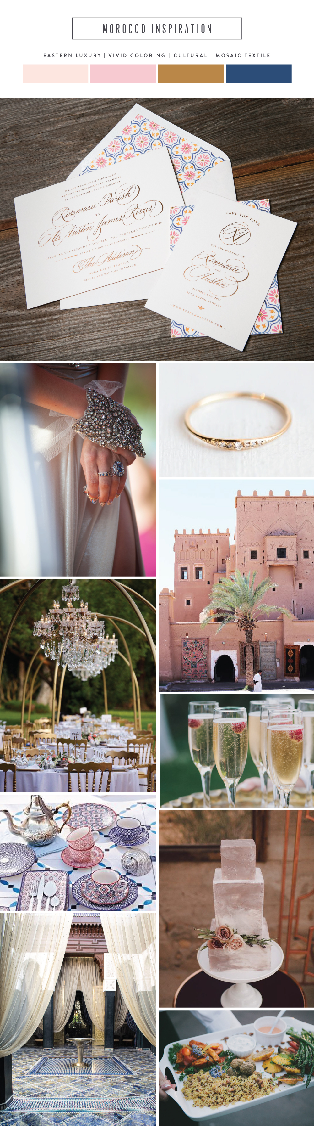 Introducing Morocco: vibrant mosaic wedding invitation inspiration | Bella Figura