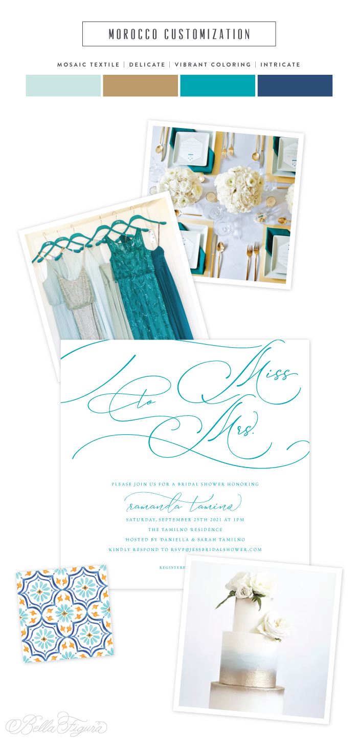 Morocco reimagined: vibrant + bold bridal shower invitation inspiration | Bella Figura