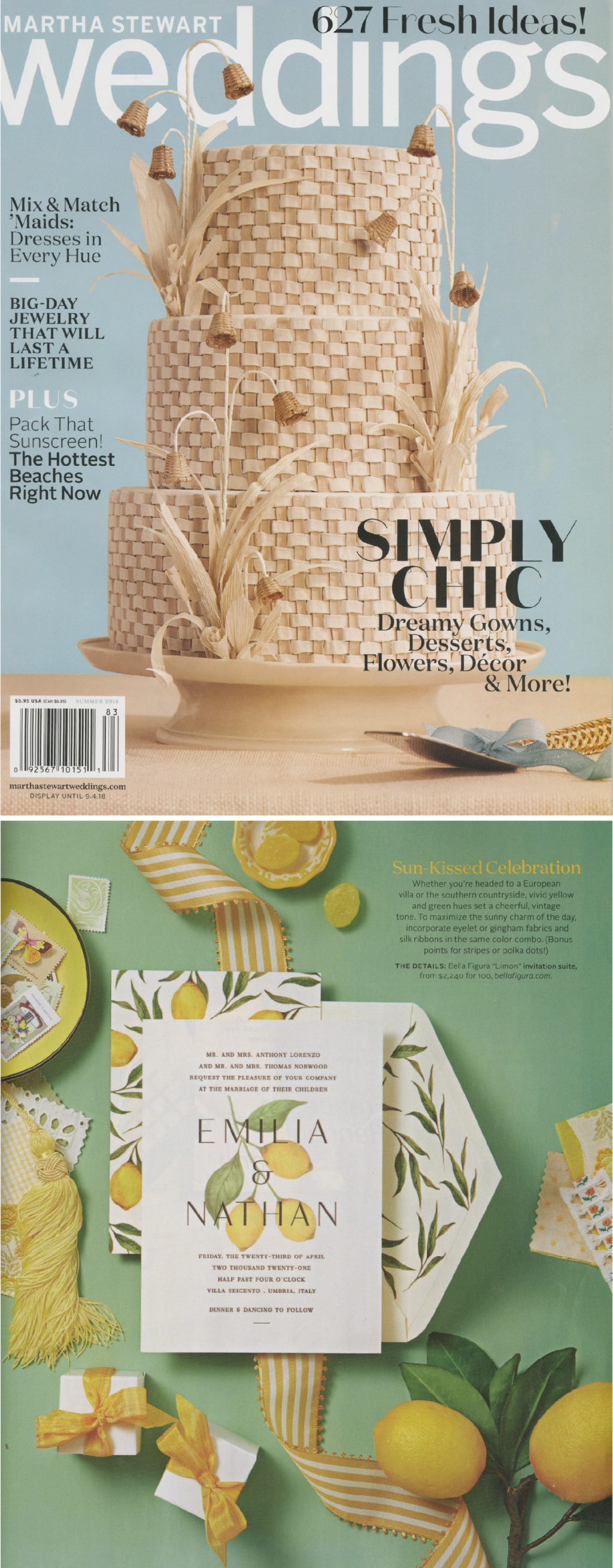 LIMON WEDDING INVITATION BY BELLA FIGURA FEATURED IN MARTHA STEWART WEDDINGS