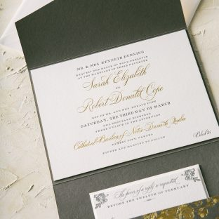 charcoal and gold foil wedding invitations