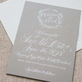 Sweet foil stamped save the dates