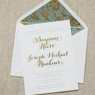 Elegant gold foil wedding invitations