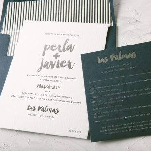 modern foil stamped wedding invitation