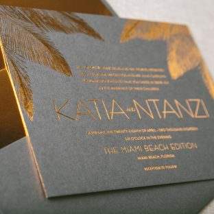 tropical foil stamped wedding invitations