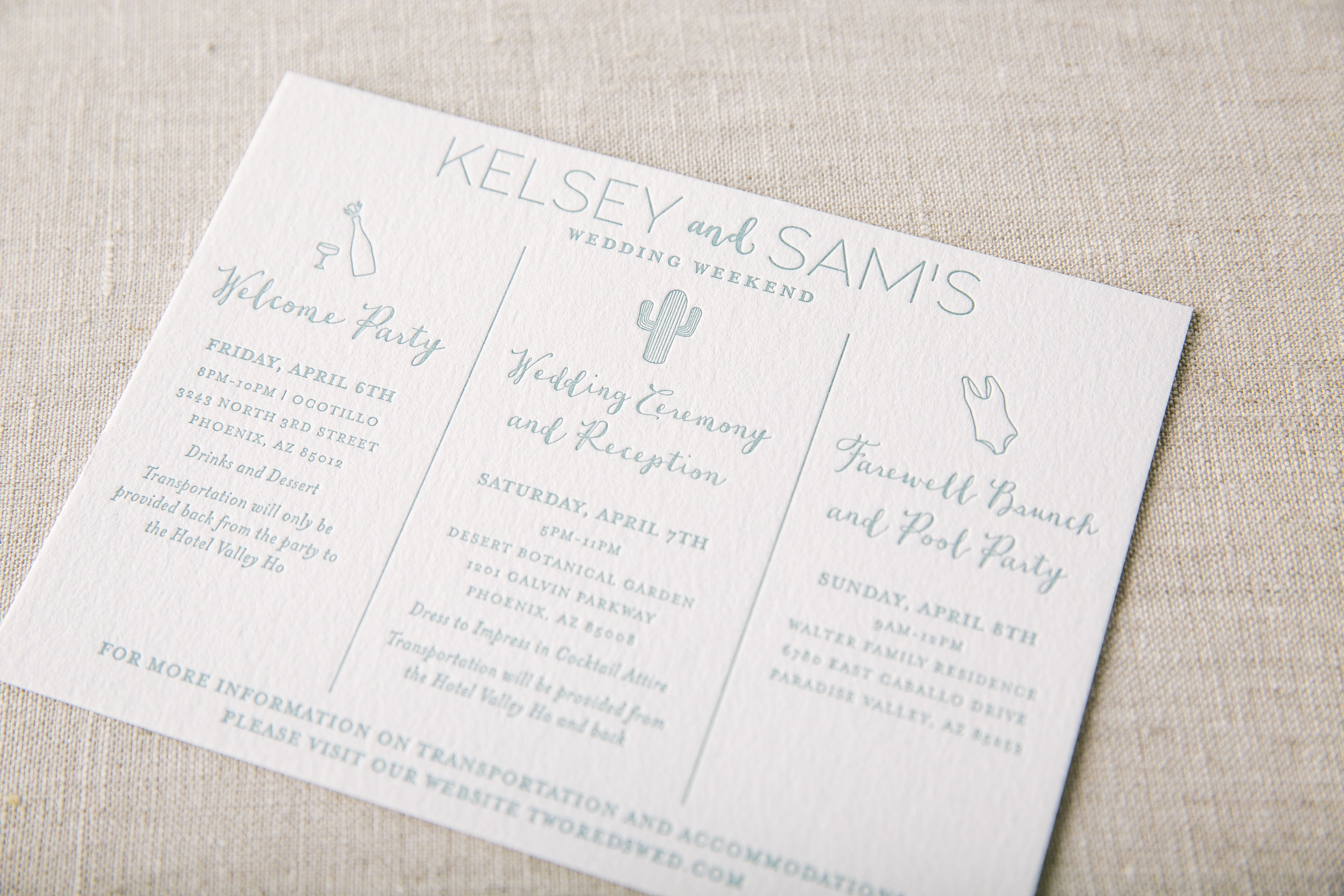 southwestern inspired letterpress wedding invitations