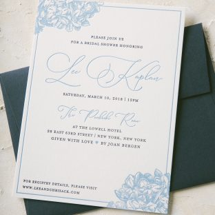 romantic letterpress bridal shower invitations