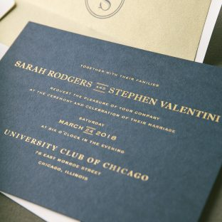 Timeless foil stamped wedding invitations