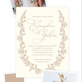 romantic foil stamped wedding invitation