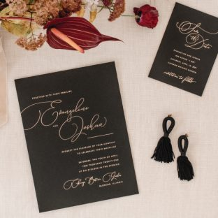 refined rose gold foil wedding invitation