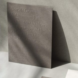 modern blind embossed wedding invitation