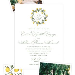letterpress invitation with Tuscan inspired monogram