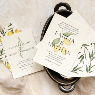 Tuscan inspired wedding invitations