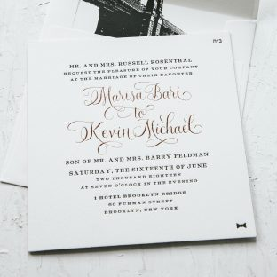 Brooklyn inspired letterpress wedding invitations
