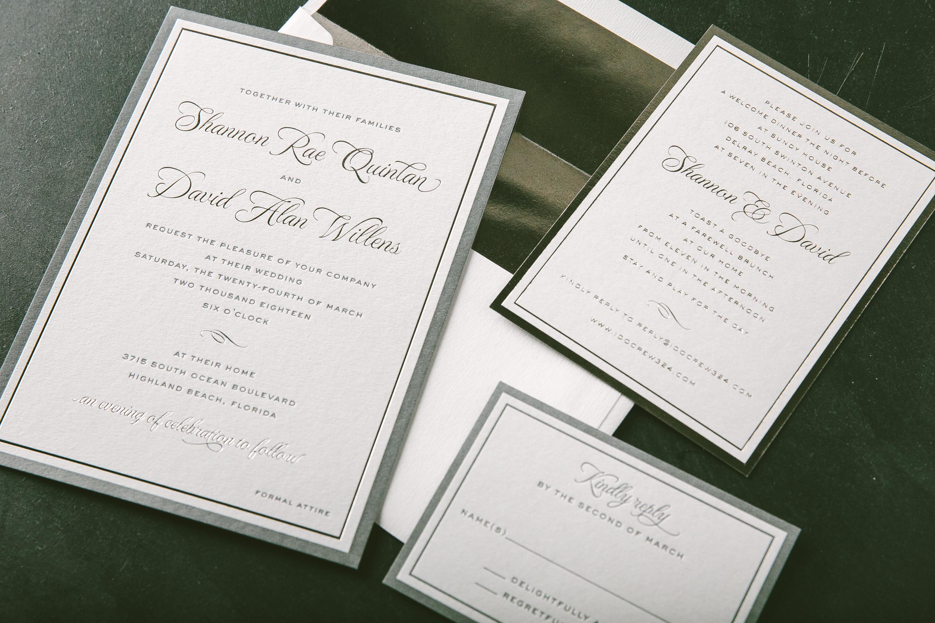 Cool color palette foil invitations
