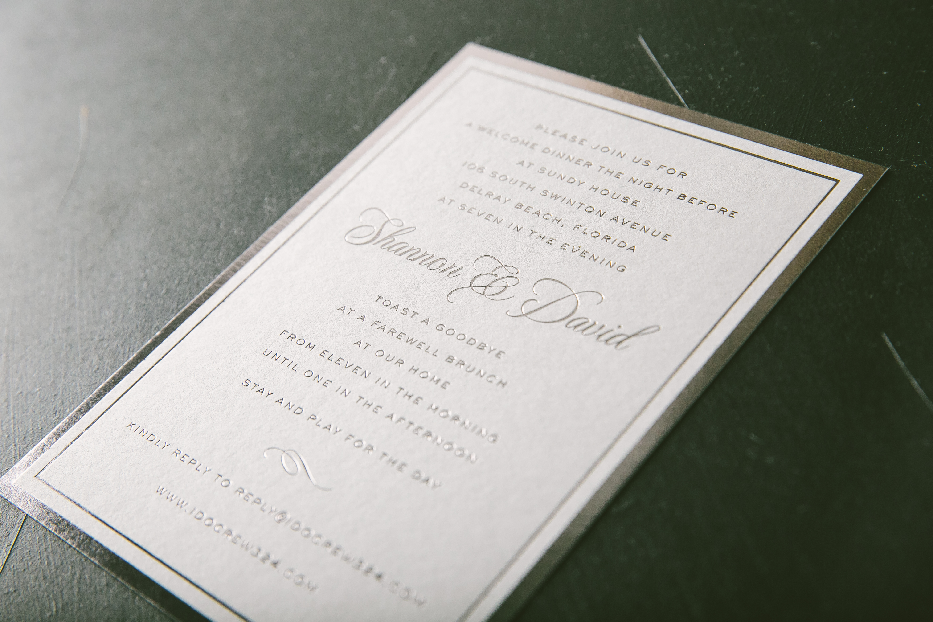 Cool color palette foil invitations in Platinum Shine