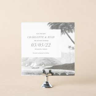 Castaway save the date design