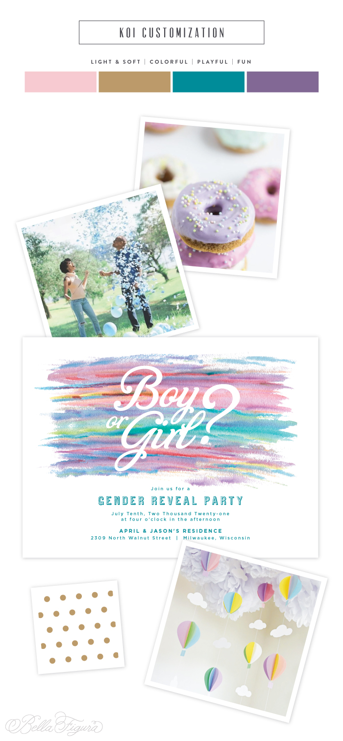watercolor gender reveal invitation