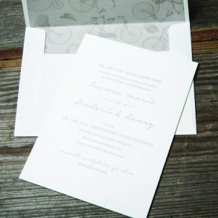 retro inspired letterpress wedding invitation