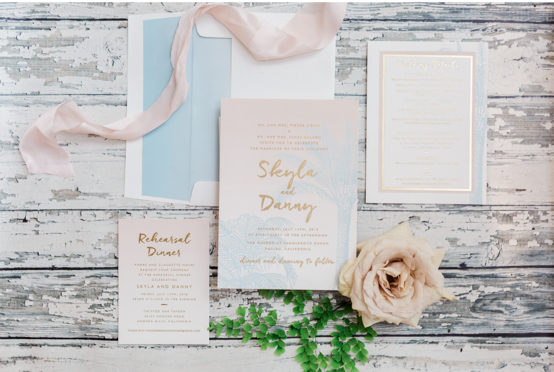 California inspired wedding invitations
