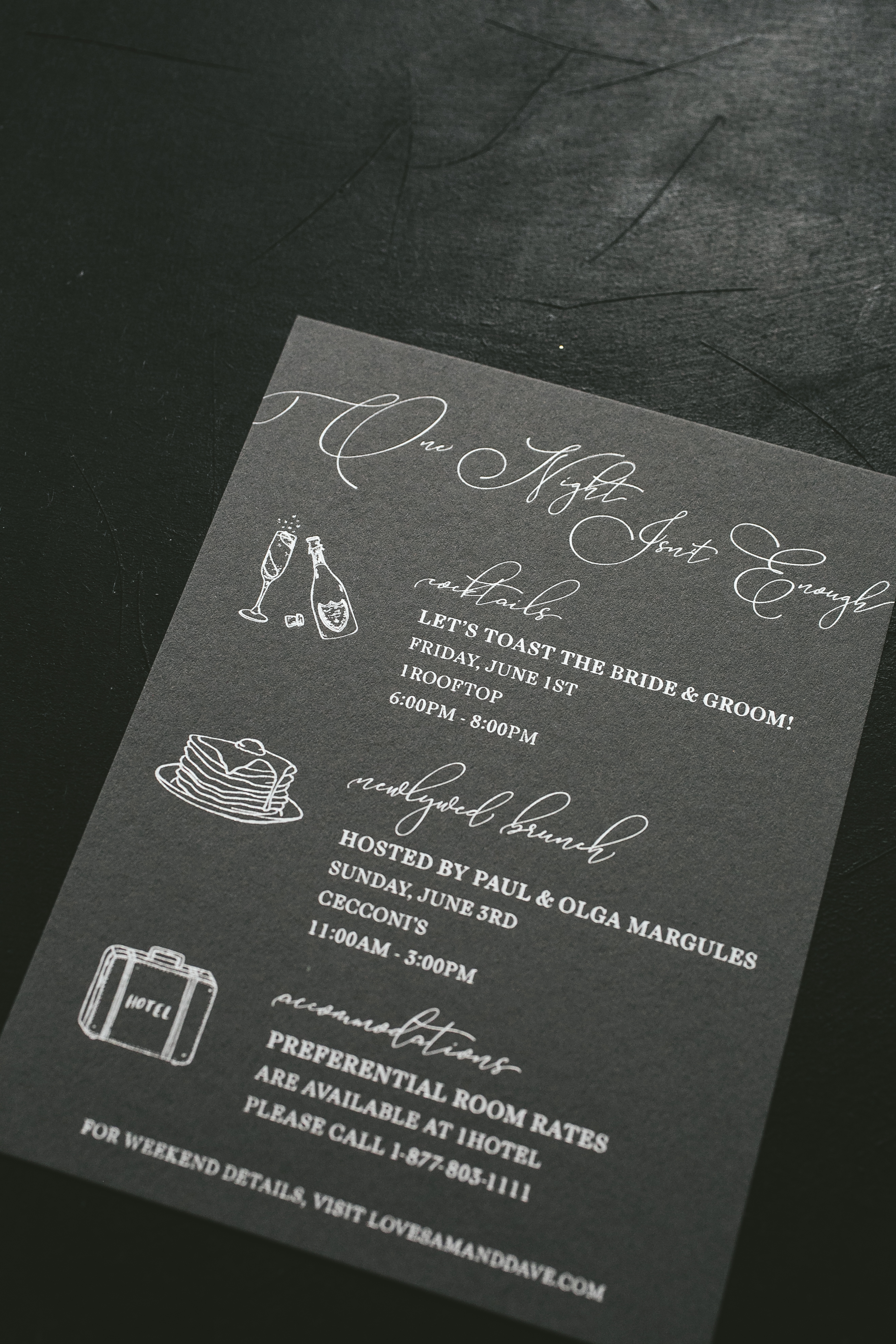 modern pewter letterpress wedding invitations