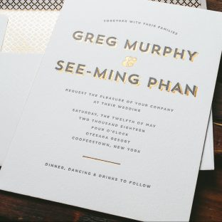 contemporary letterpress wedding invitations