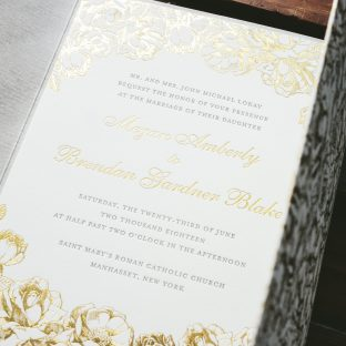 Gold Matte floral wedding invitations